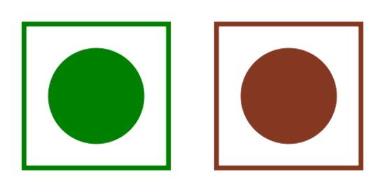 Signalétique : végétarien en vert, non végétarien en rouge